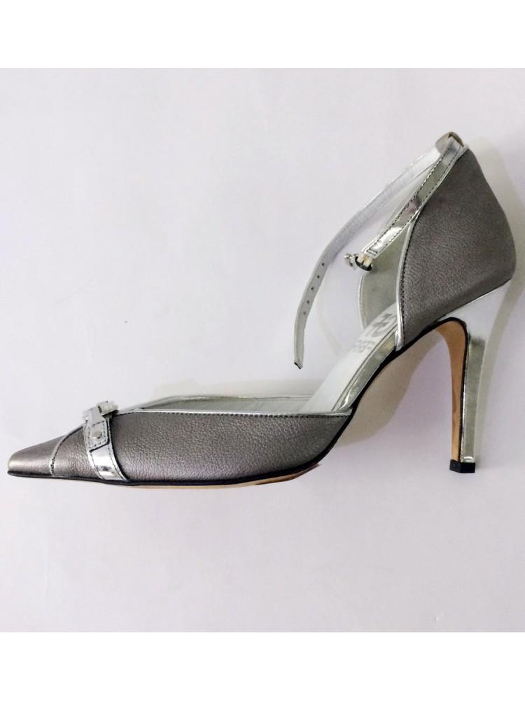 Туфли из натуральной кожи 580530-серебро, каблук пластиковый