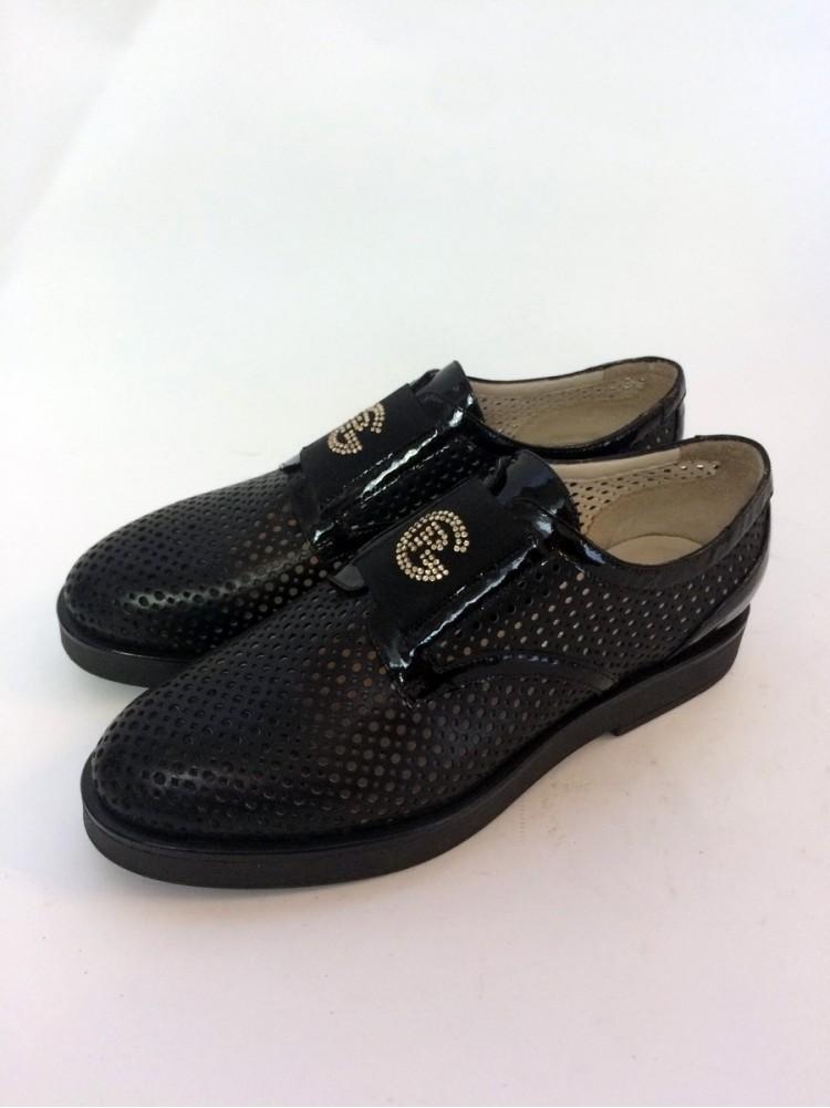 Туфли кожаные закрытые со сквозной перфорацией 947-черный