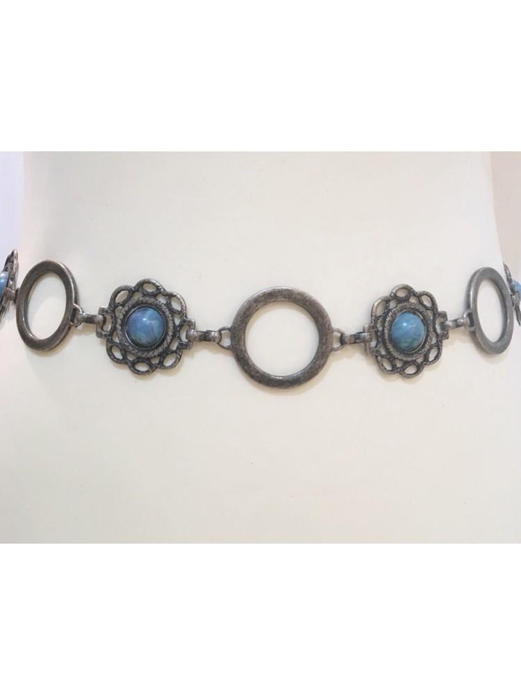 Ремень из металлических колец и брошей, c камнями под голубой оникс SV220717