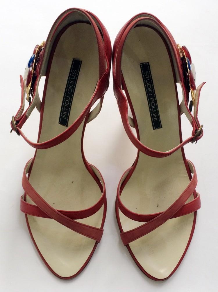 Босоножки POLLINI STUDIO, натуральная кожа, высота каблука 10 см, 0716230-красный