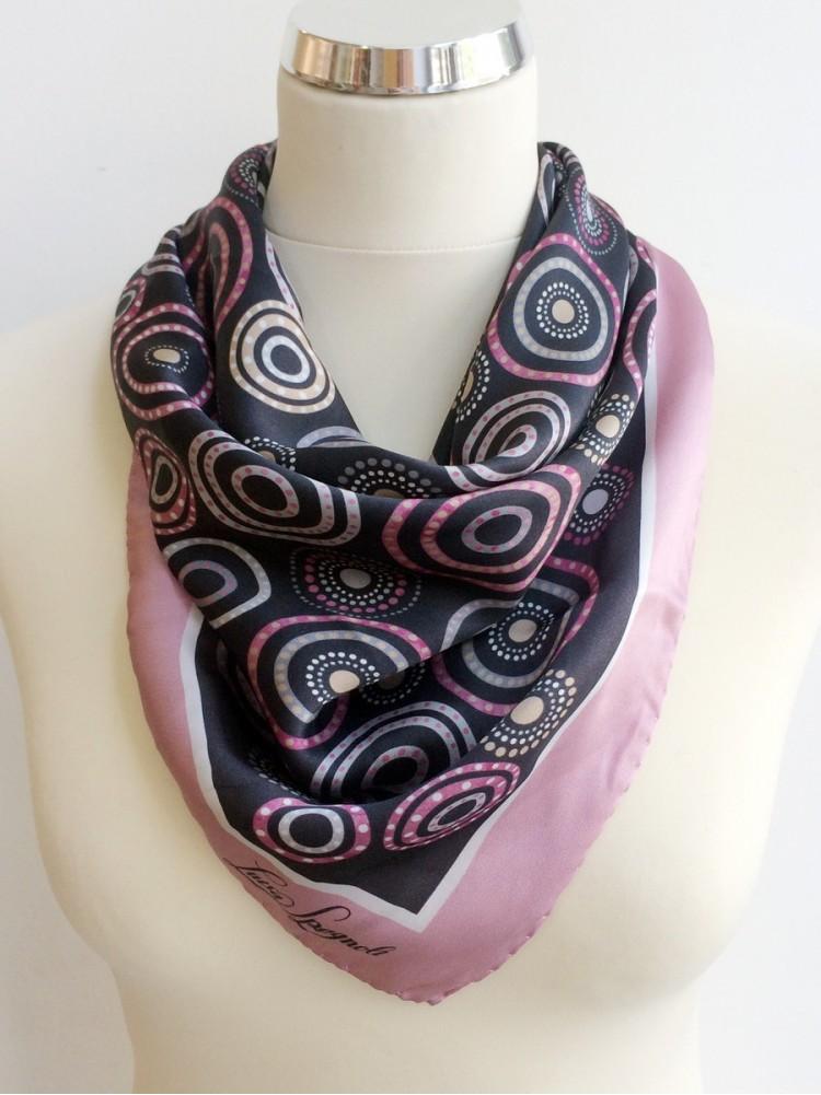 Шелковый платок бренда LUISA SPAGNOLI, rotante_роза