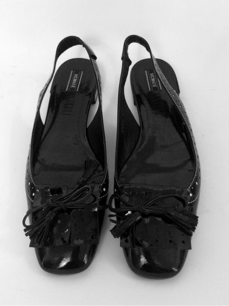 Туфли из комбинированной лакированной кожи, каблук пластиковый 2см 6996.08-чёрный