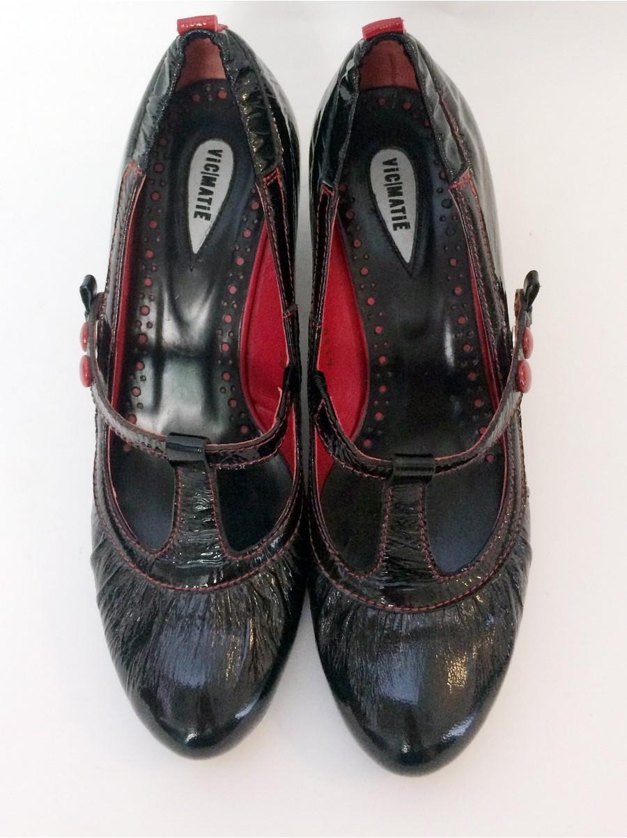 Туфли из комбинированной лакированной кожи VIC MATIE 0776330-черный