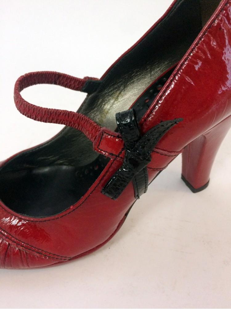 Туфли из комбинированной лакированной кожи, сбоку бант VIC MATIE 0776404