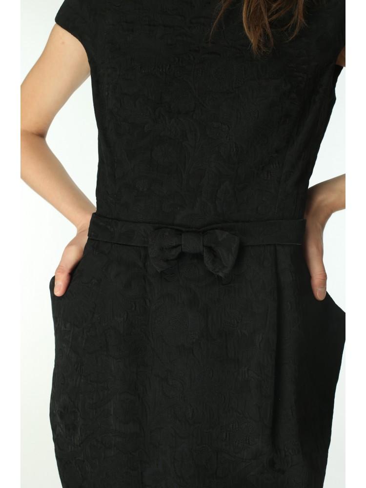 Платье GABRIO от LUISA SPAGNOLI из жаккарда черного цвета на подкладе